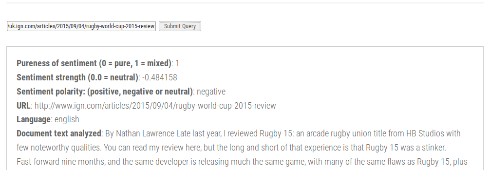 Rugby World Cup 2015 Review - Sentiment Analysis Result