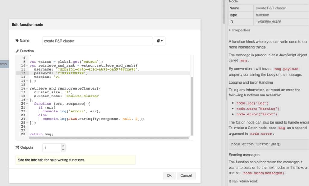 Watson APIS in node-RED function node