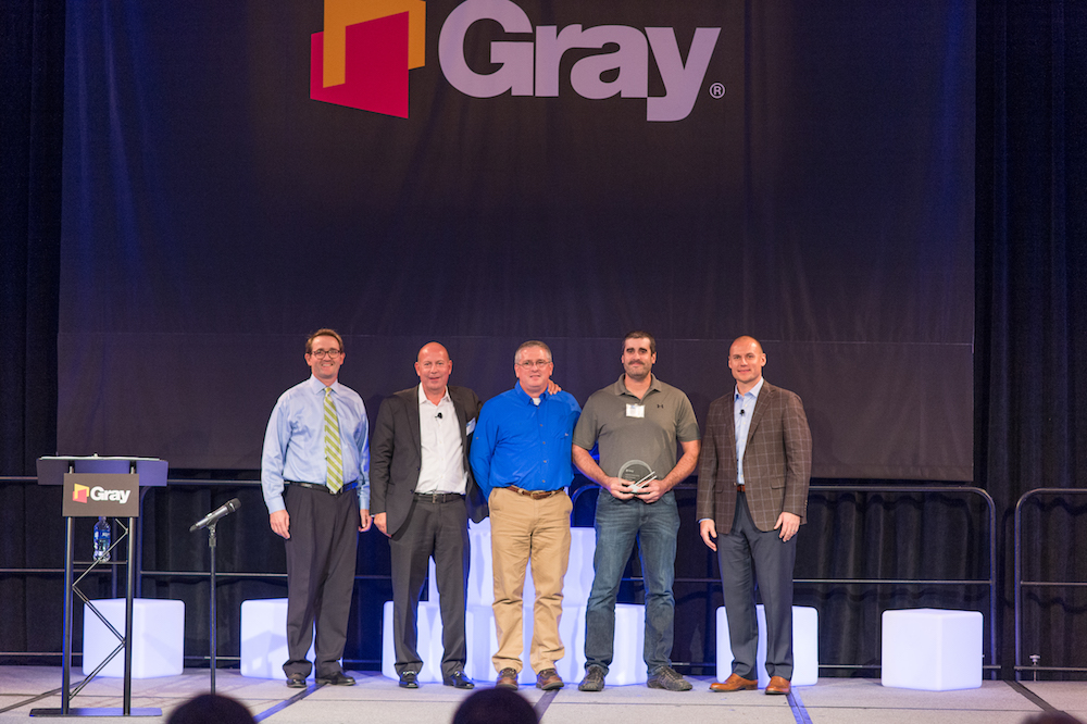 Presenting the award for Gray from left to right are Stephen Gray, Phil Seale, Jeff Scott, our own Jason O'Hara, and Brian Jones.