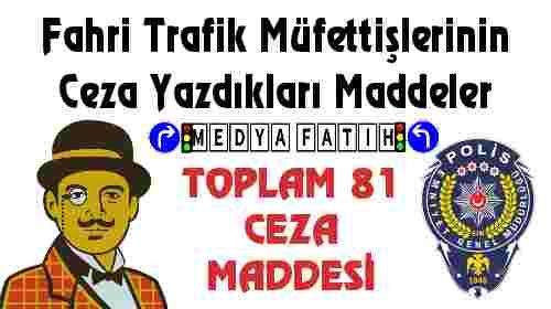Fahri Trafik Müfettişlerinin Ceza Yazdıkları Maddeleri