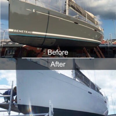 Full wrapping including stripes on yacht before and after examples from Yachtwrapping