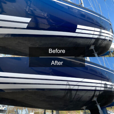 Stripes on yacht before and after examples from Yachtwrapping