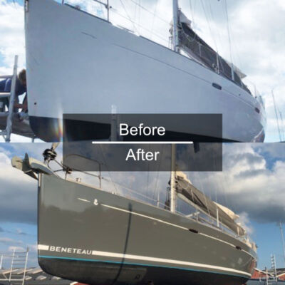 Stripes before and after example on yacht