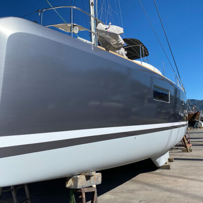 Grey finish to exterior vinyl wrapping of yacht