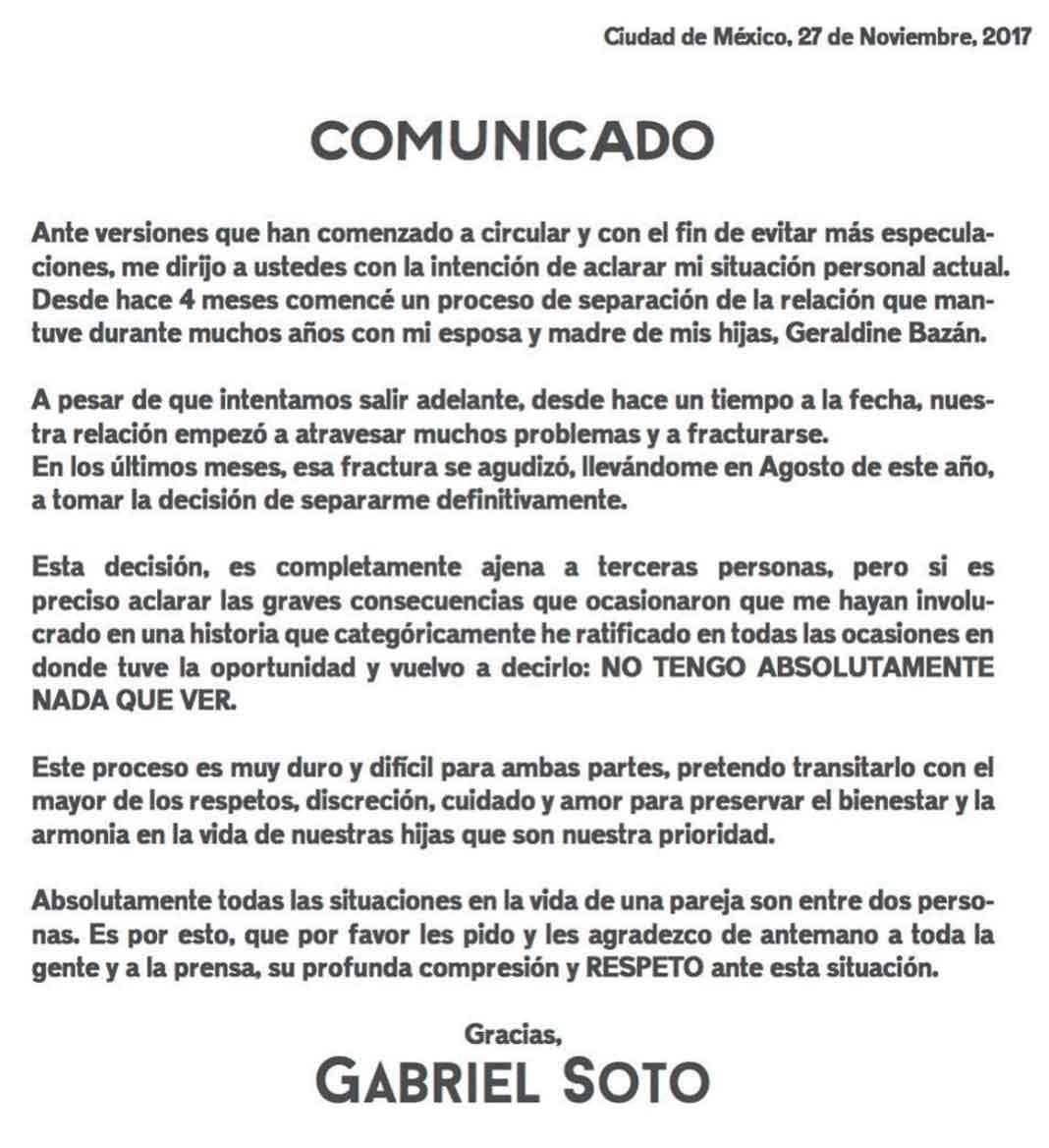 Este es el comunicado difundido por Gabriel Soto en sus redes