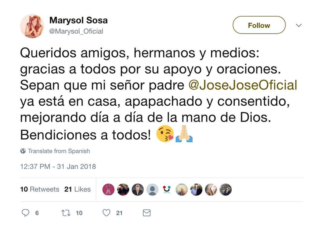 Este el mensaje que Marysol acaba de poner en su cuenta de Twitter