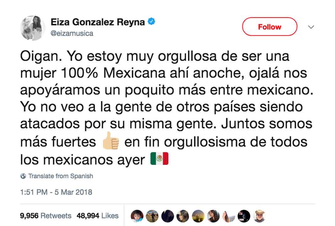 Eiza pidió menos ataques y más apoyo de los mexicanos