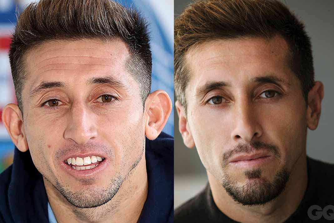 Herrera, antes de la operación y después, en las páginas de la revista GQ