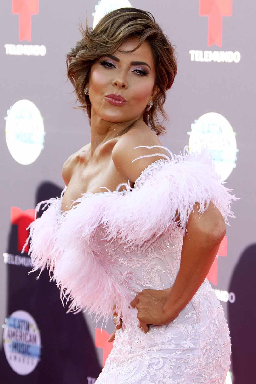 Gloria Trevi llegó con el peluche bien rosado a los Latin AMAs, con este diseño ajustado, bordado y a los hombros