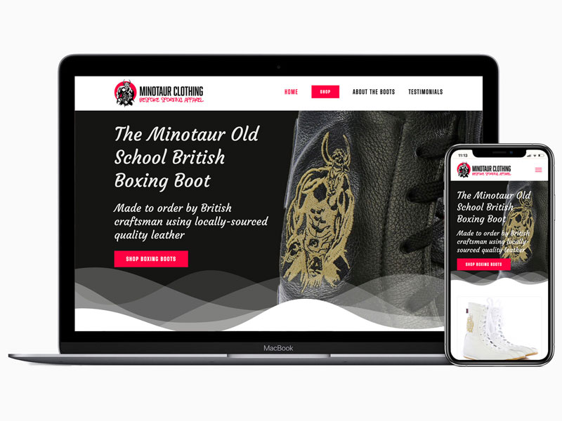Graphic designer, Aylesbury – wordpress ecommerce website for minotaur clothing