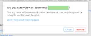 Delete your app from apple app store or iTunesConnect portal