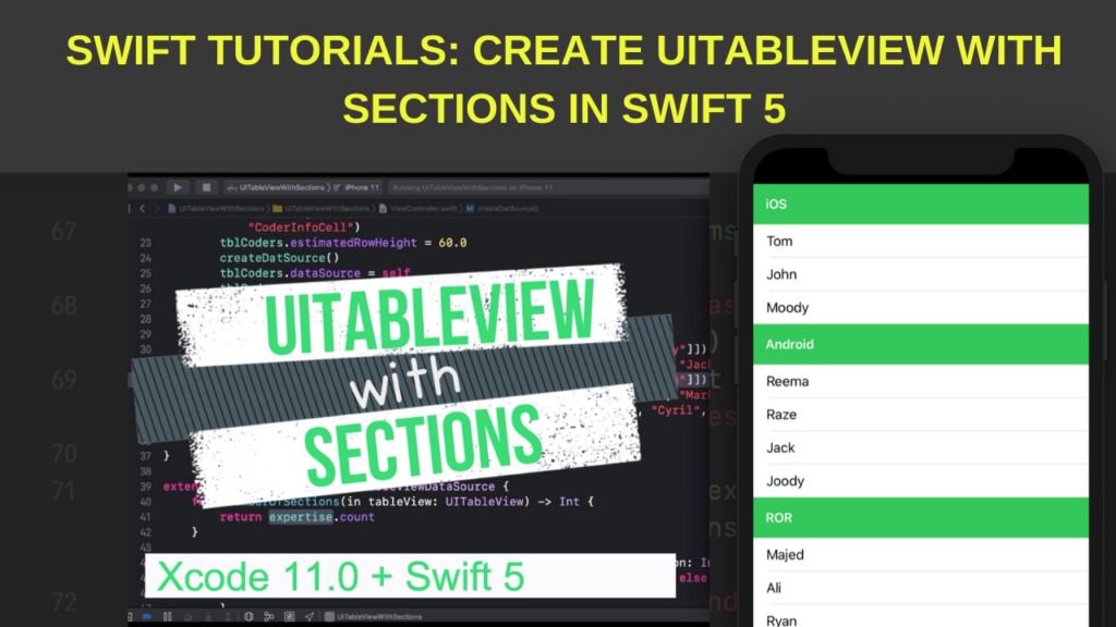 create UITableView with sections - Swift Tutorial