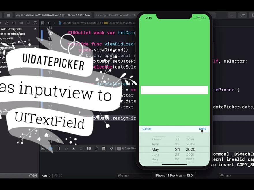 Add UIDatepicker as inputview to UITextField