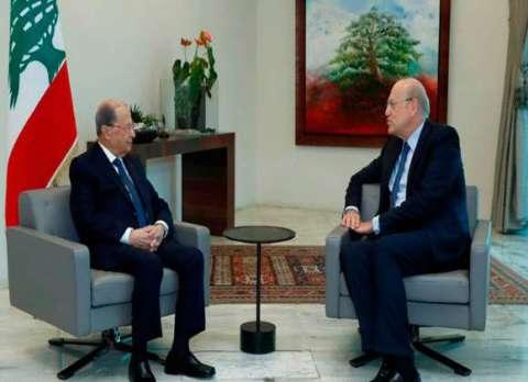 رئيس الحكومة اللبنانية المكلف بعد لقائه عون: المهمة الأساسية تنفيذ المبادرة الفرنسية وسننجح اذا تضافرت جهود الجميع بدون مناكفات ومن لديه حل يتفضل