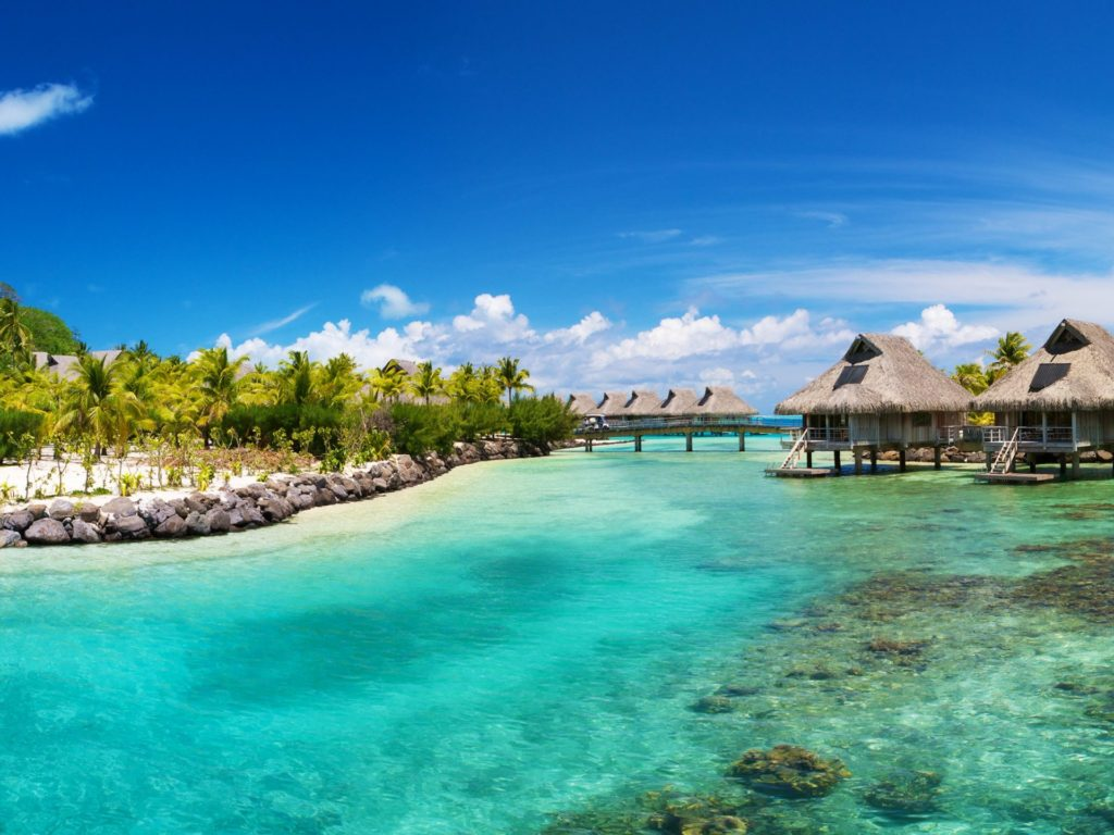 Tropical-summer-beach-thatched-bungalovipalmi-transparent-water-Nui-Resort-Bora-Bora-South-Pacific-2880x1800-wWallpaper-HD-1920x1440