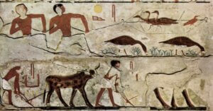 An Egyptian mural of hunting birds (top) and plowing a field (bottom.)