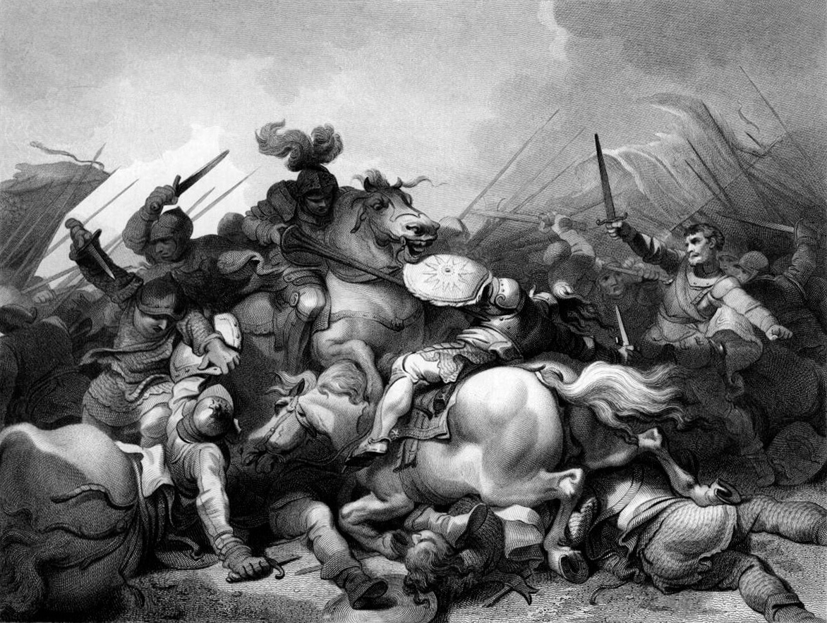 A painting recreating the Battle of Bosworth