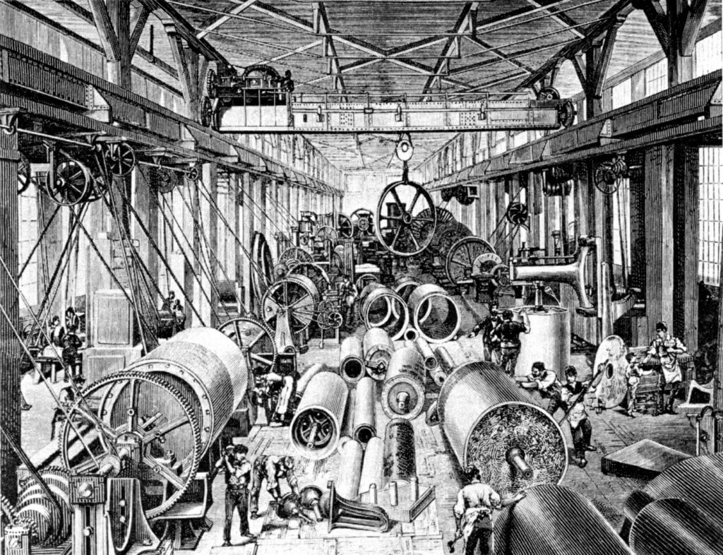 An illustration of a factory filled with machines