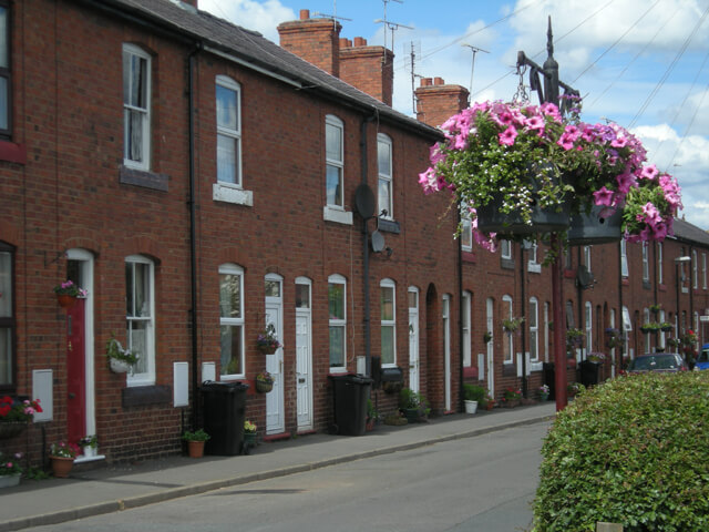 A row of Victorian terraced houses