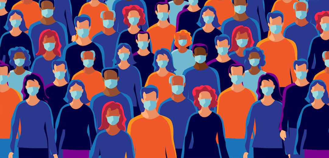 Illustration of people wearing masks.