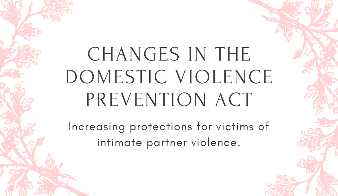 Changes in the Domestic Violence Prevention Act