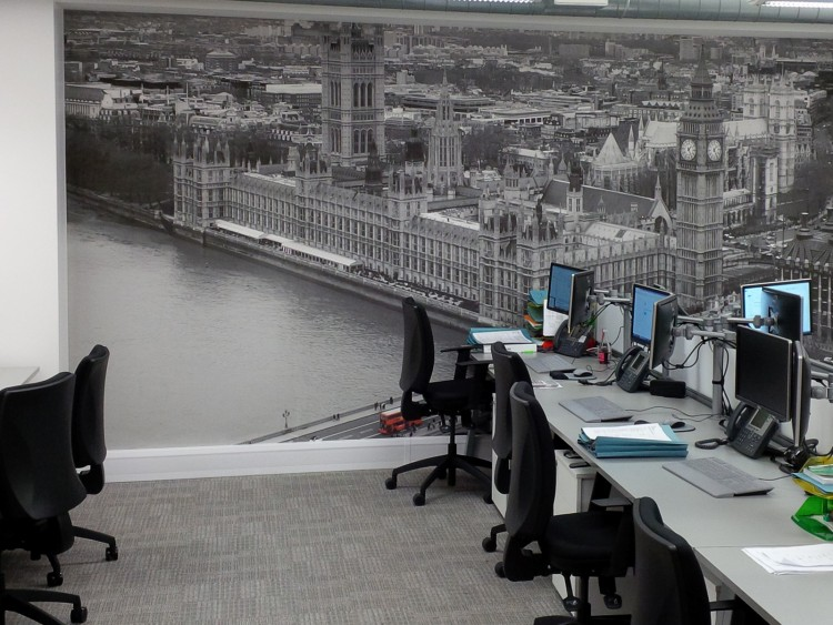 Printed wall covering showing the Houses of Parliament