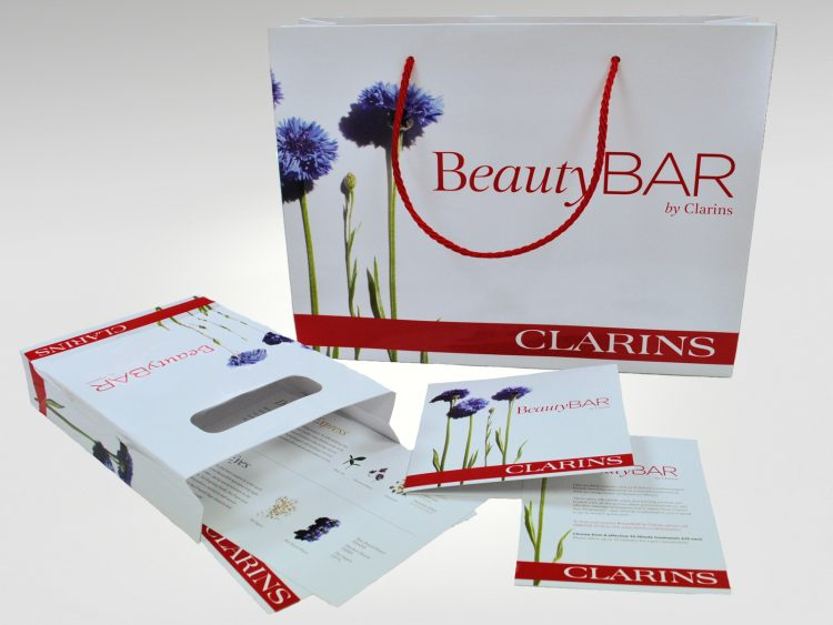 Promotional literature and bags printed and produced for Clarins Beauty Bar