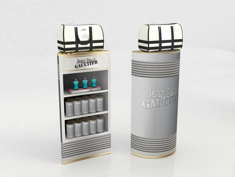 Custom floor stocker and display unit designed and produced for Jean Paul Gaultier Le Male