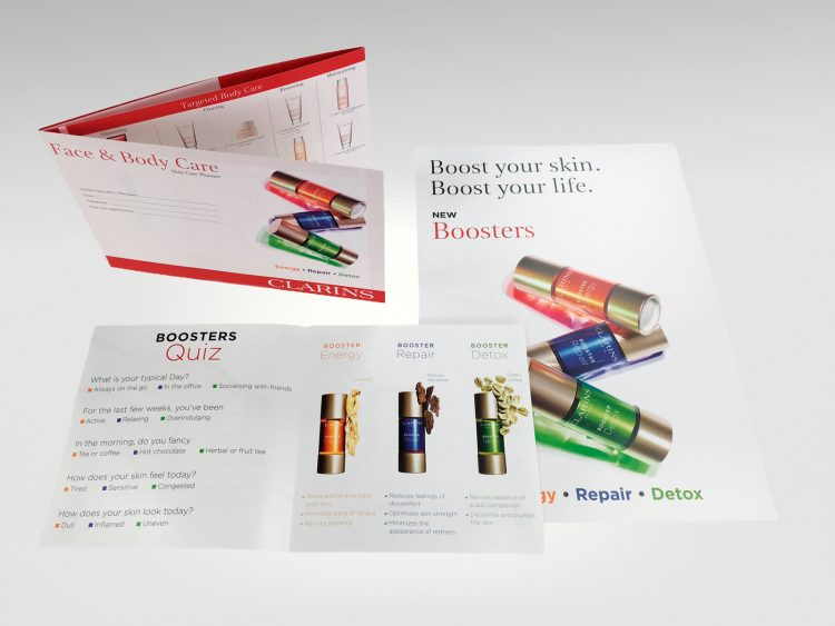 Consumer literature printed for Clarins Boosters
