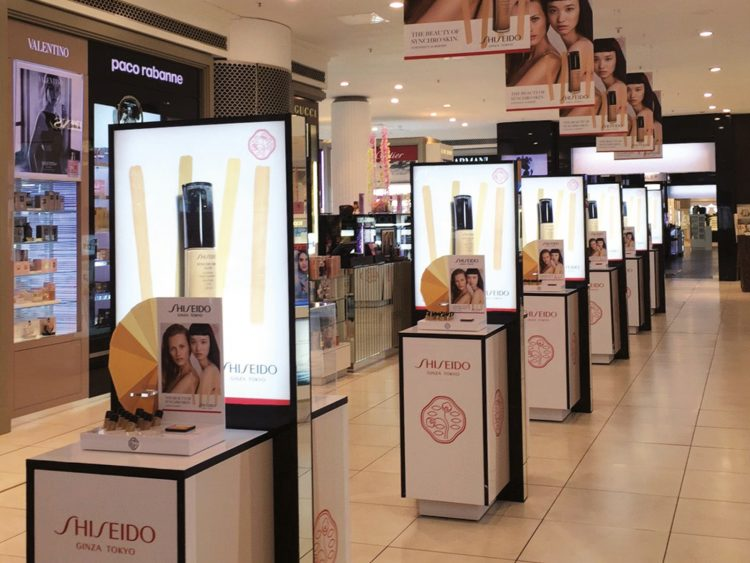 Colouration partnered with Shiseido to produce and install their Synchro Skin Foundation promo site at House of Fraser, featuring premium cosmetic display units