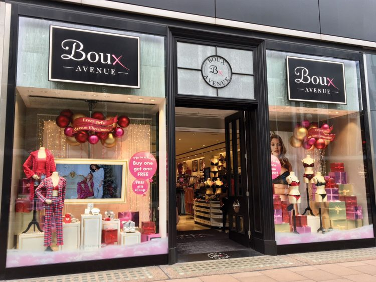 Retail window graphics for Boux Avenue's London store