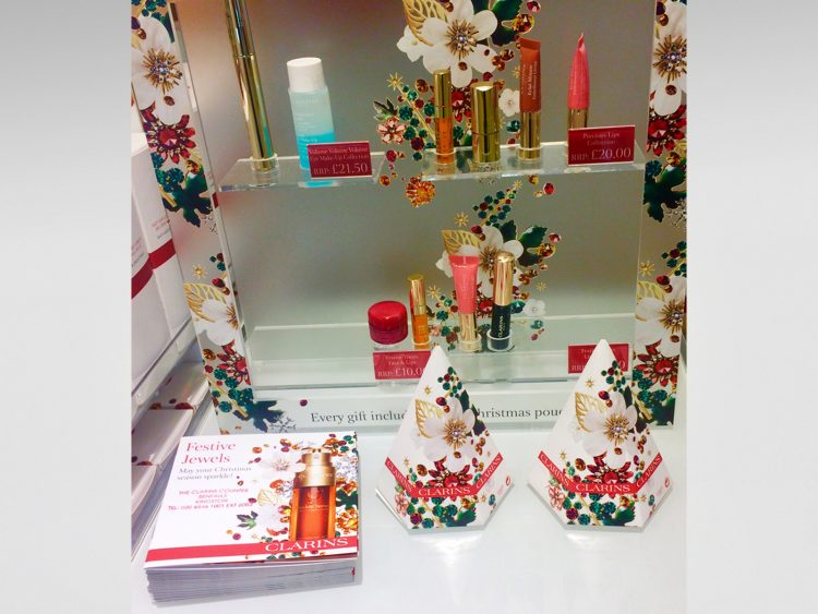 Mini-Xmas tree gift boxes and Xmas Wish List brochure printed and produced for Clarins Christmas