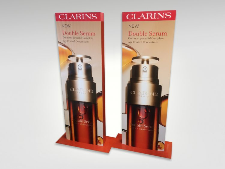 Floor display units for Clarins Double Serum