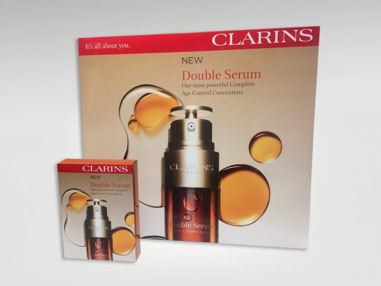 Large & small window display units produced for Clarins Double Serum