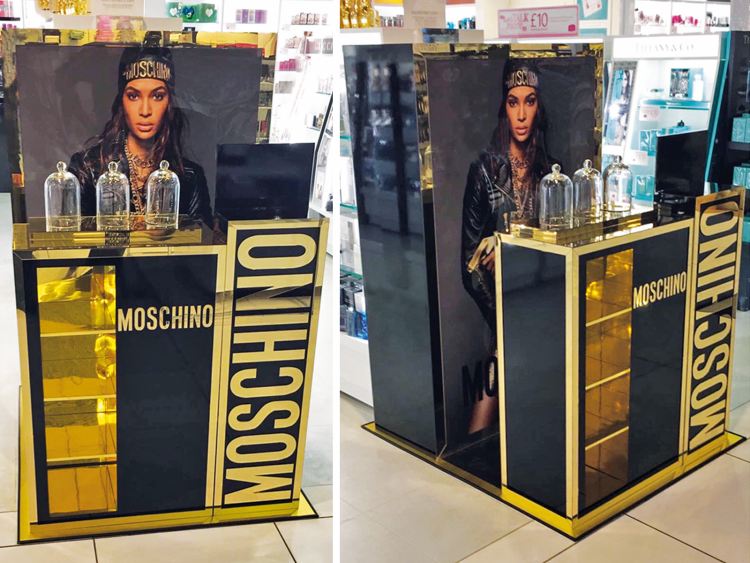Luxe gold-trimmed promotional site and fragrance display units produced by Colouration for Moschino's Gold Fresh Couture fragrance