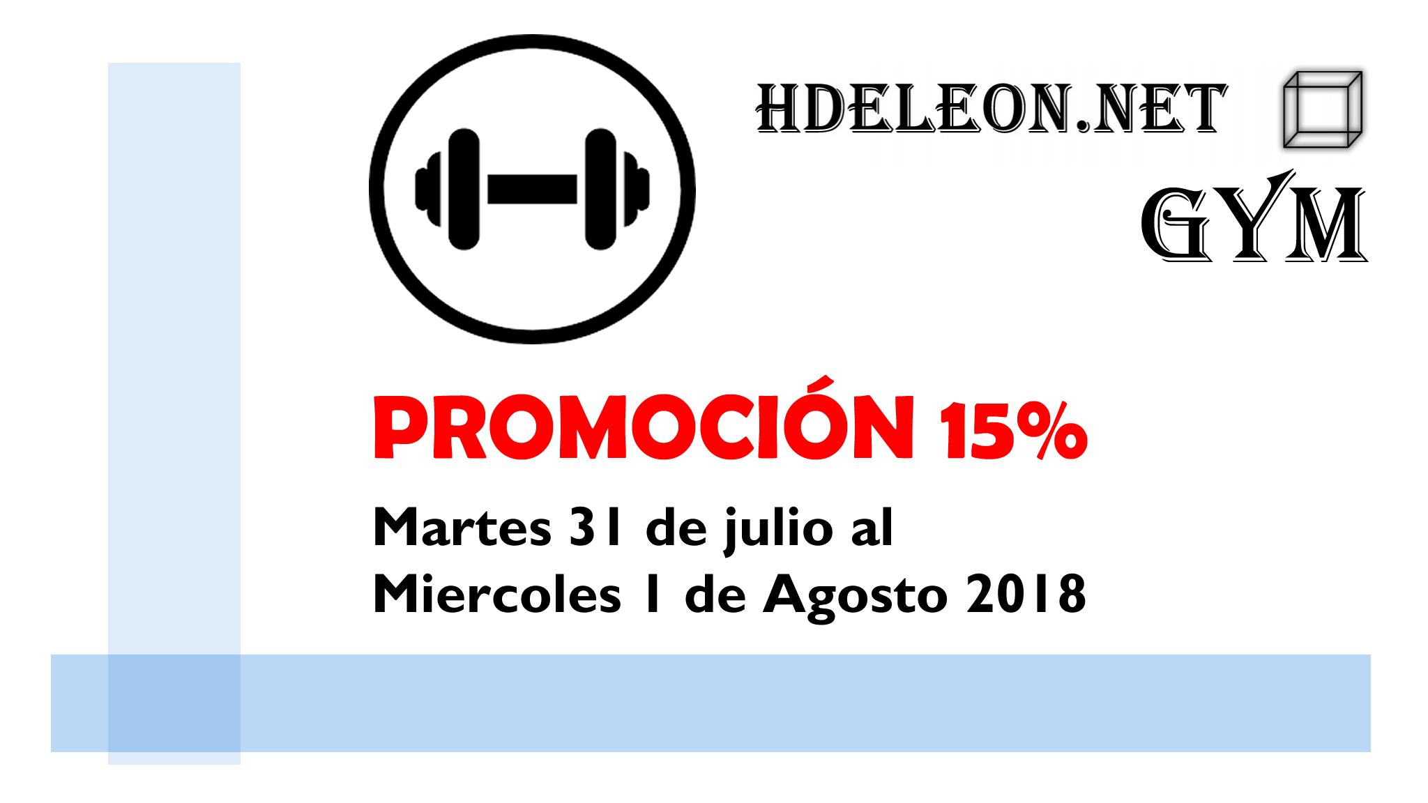 Promoción 15% de descuento en todos los sistemas gym hdeleon (no aplica en actualizaciones)