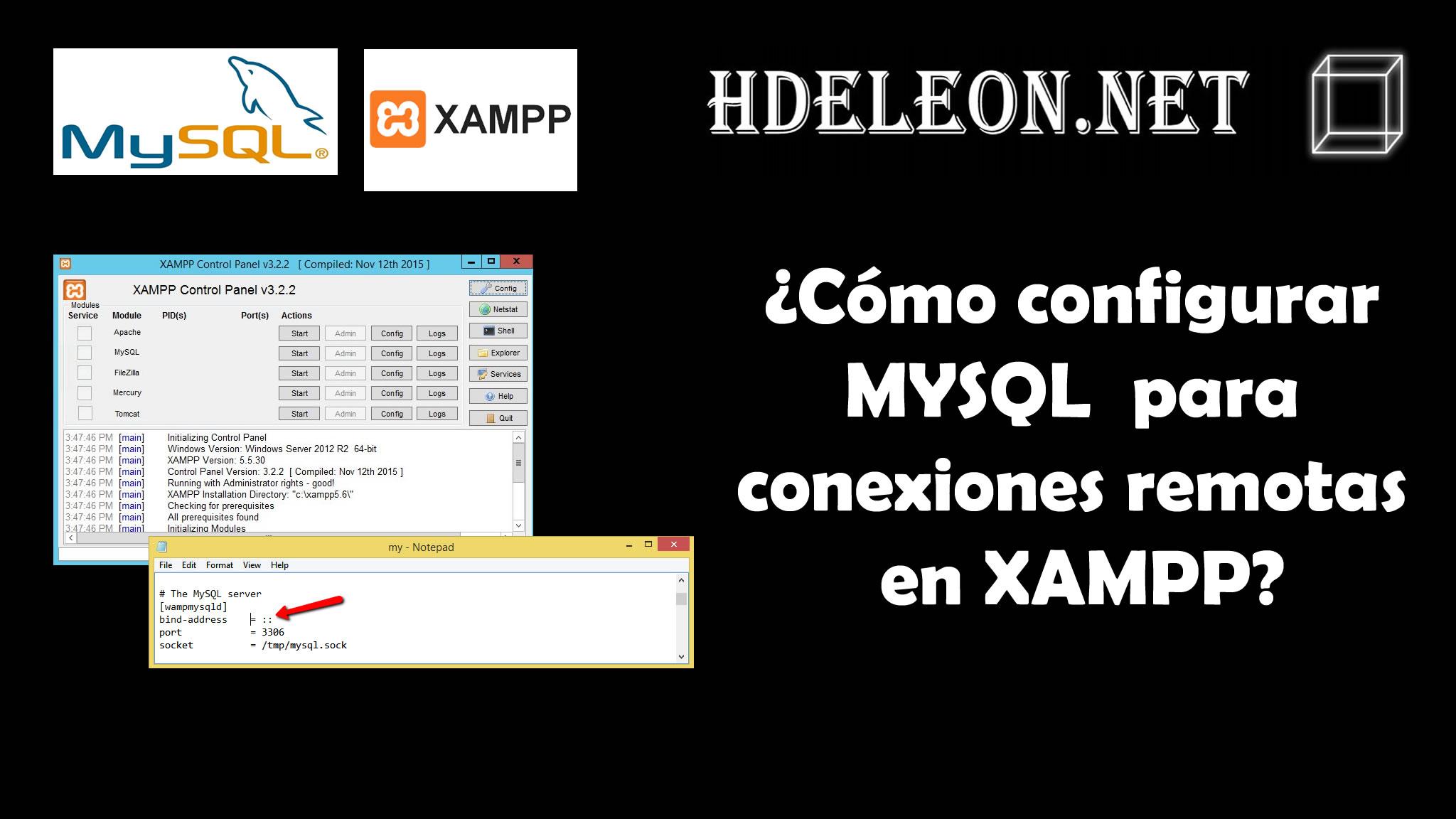 ¿Cómo configurar MYSQL para conexiones remotas en XAMPP?, Windows #mysql