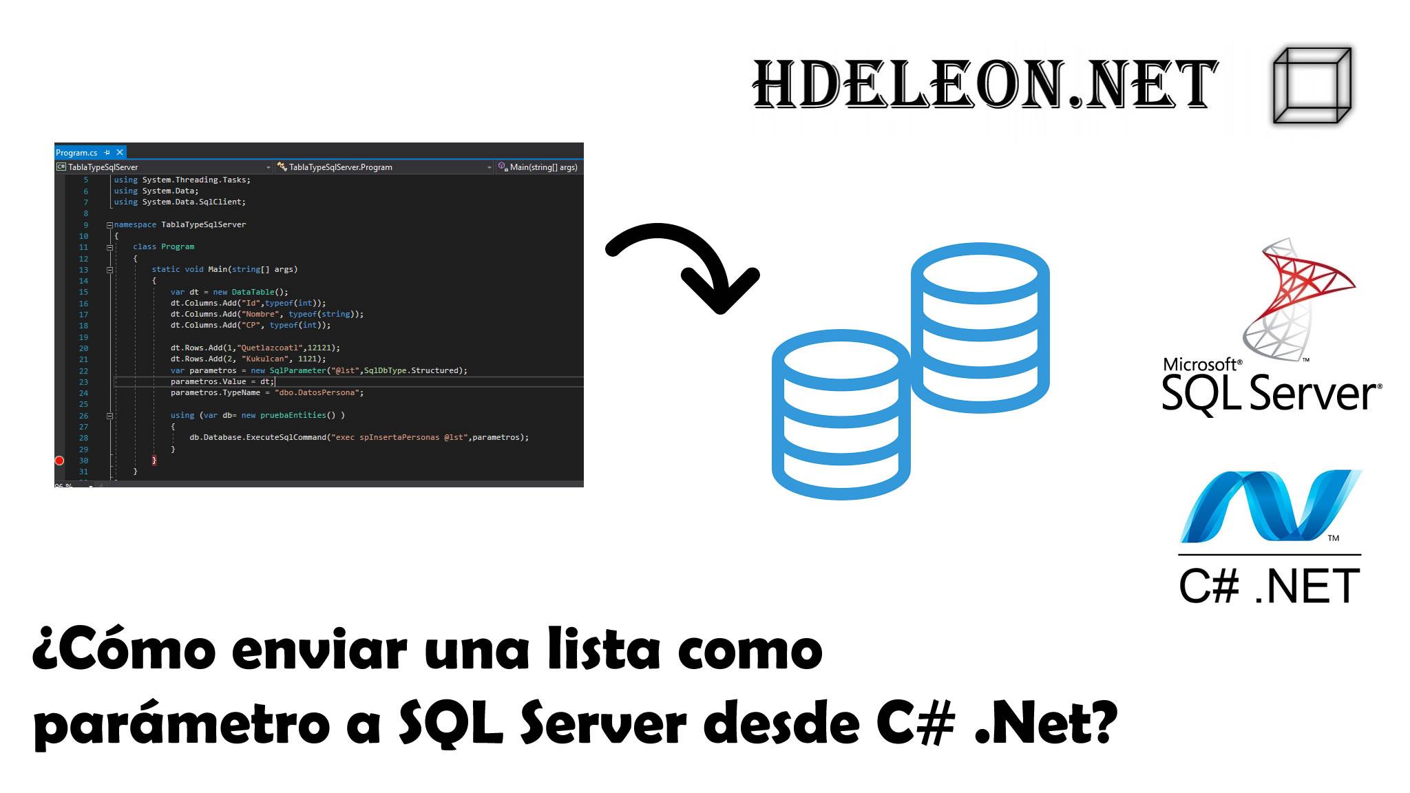 ¿Cómo enviar una lista como parámetro a SQL Server desde C# .Net?, Entity Framework