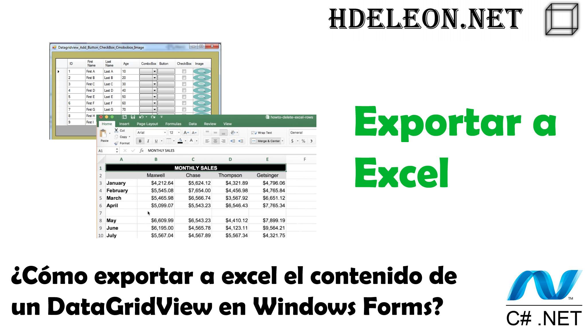 ¿Cómo exportar a excel el contenido de un DataGridView de Windows Forms?