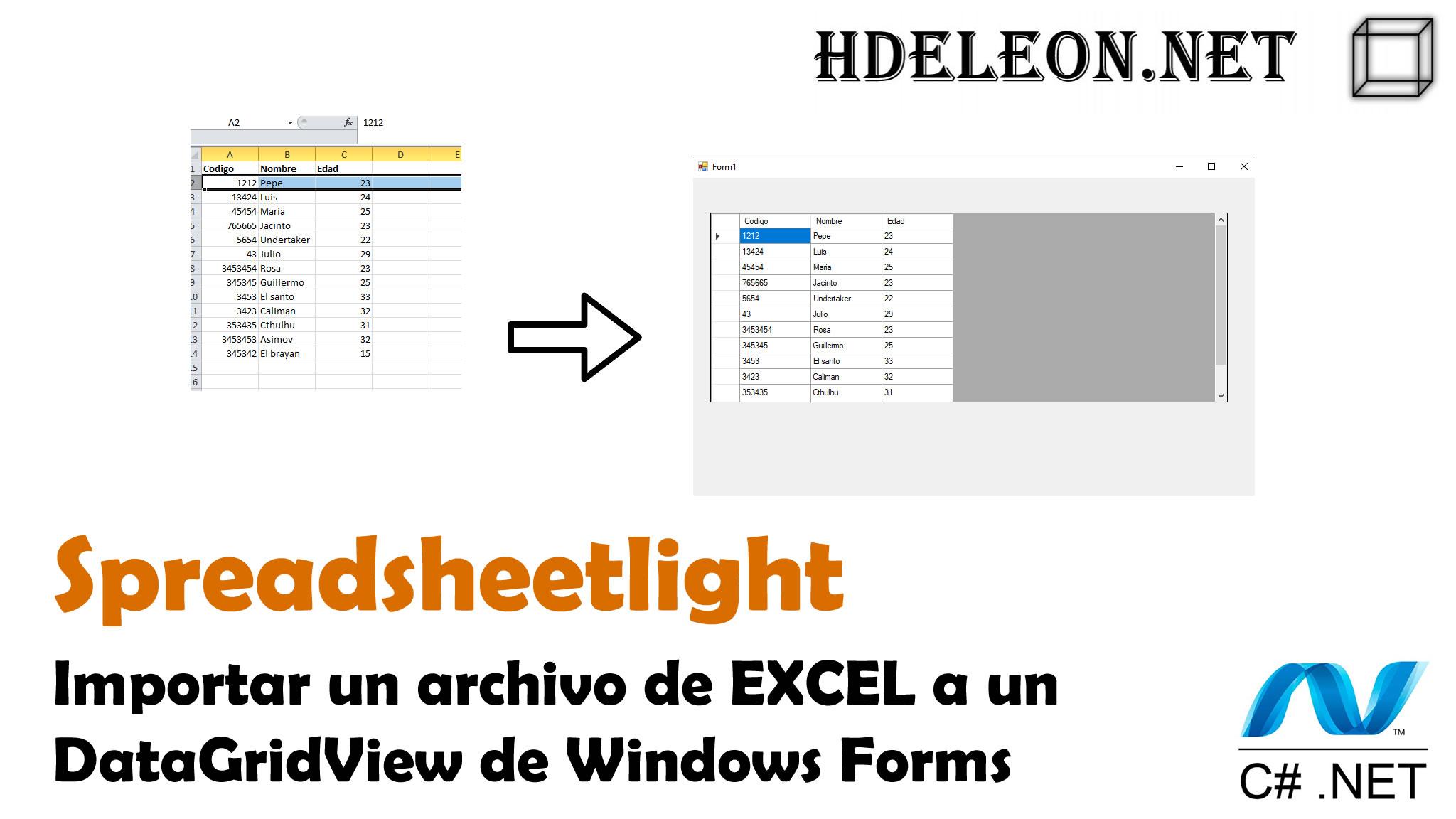 Importar el contenido de un archivo de Excel a un DataGridView de Windows Forms