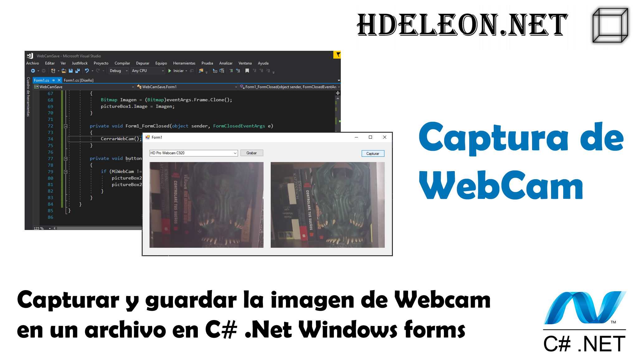 Capturar y guardar la imagen en Webcam en un archivo en C# .Net Windows Forms