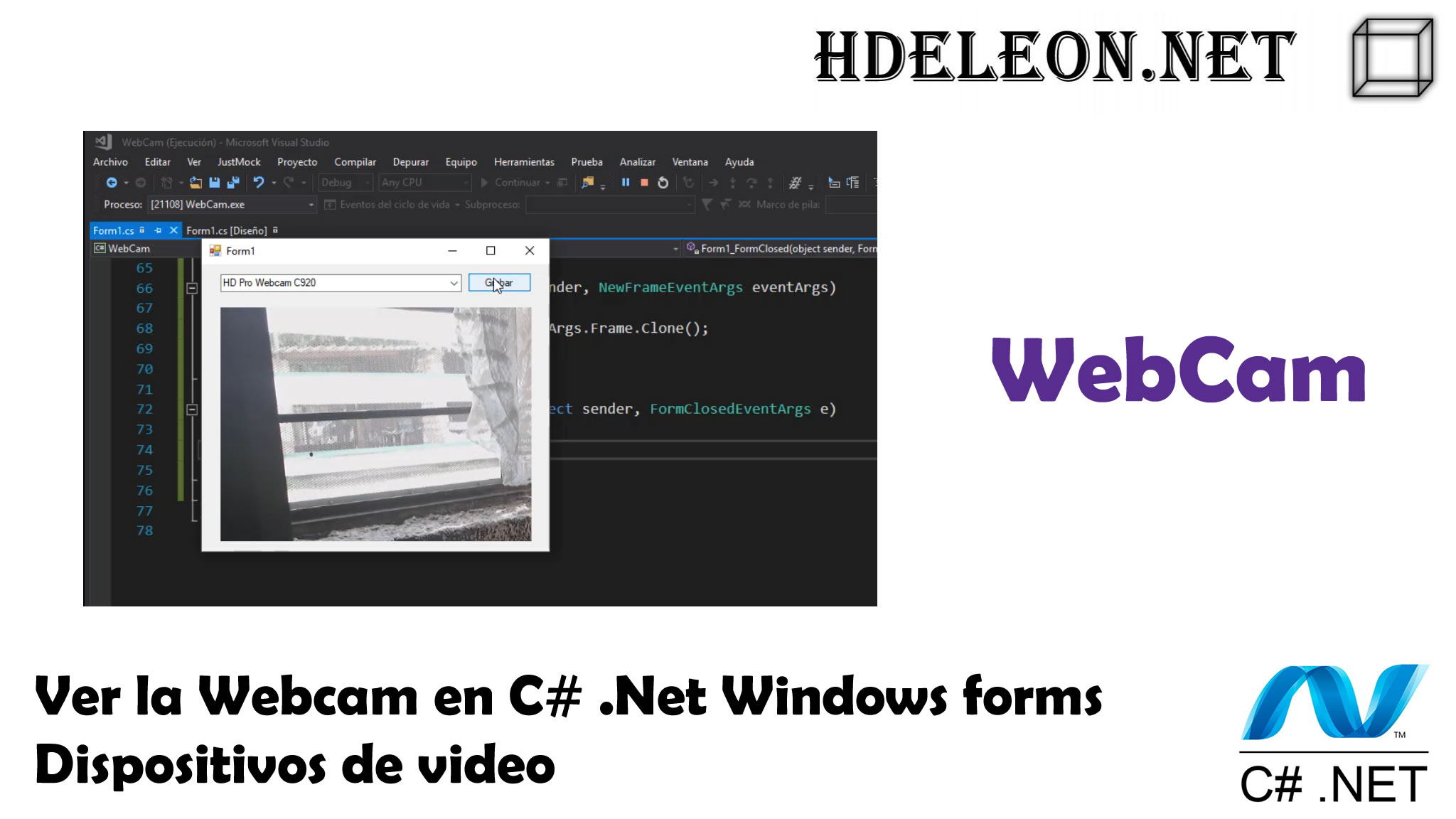 Ver la Webcam en C# .Net Windows forms, dispositivos de video