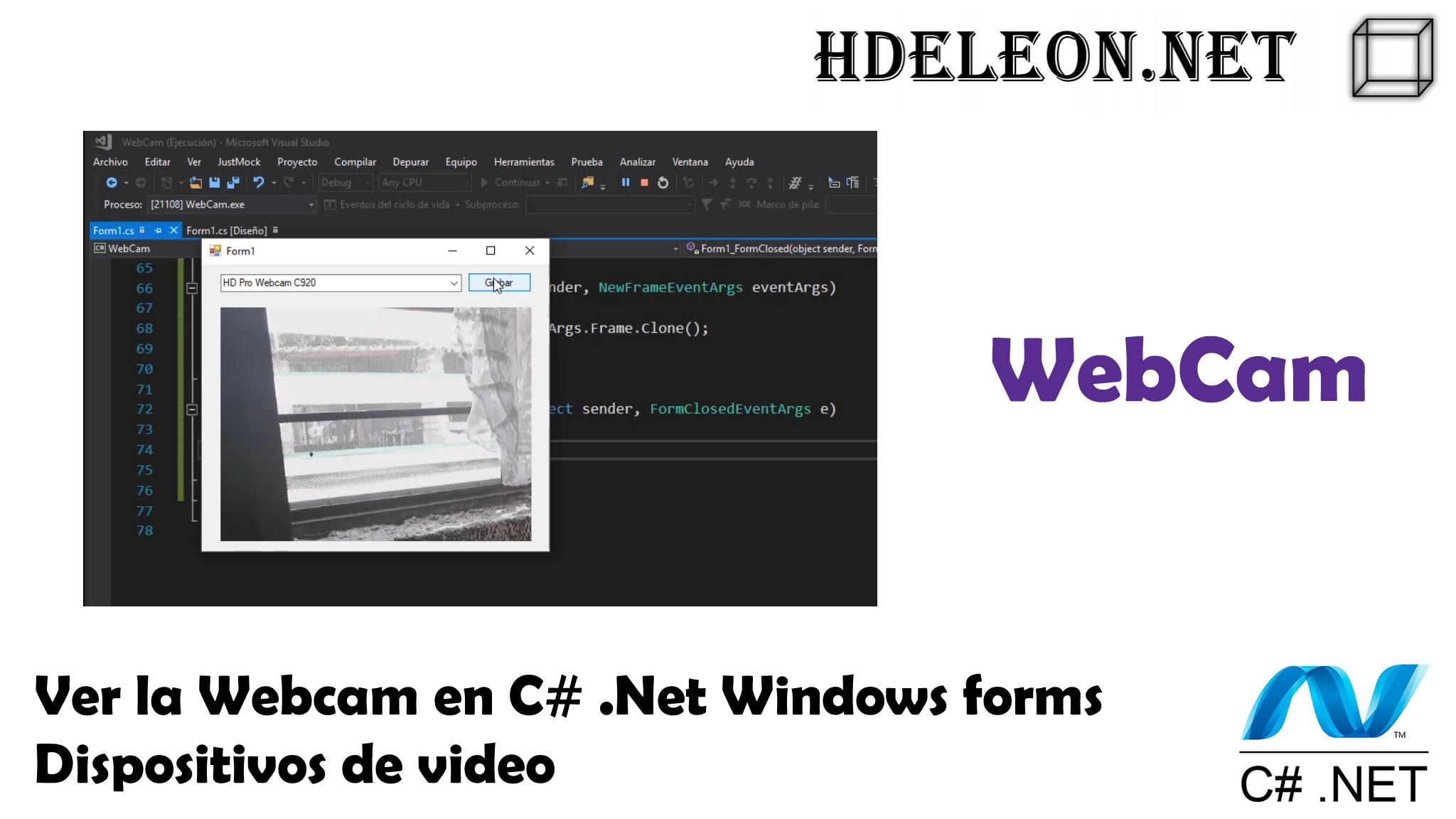 Ver la Webcam en C# .Net Windows forms, dispositivos de video