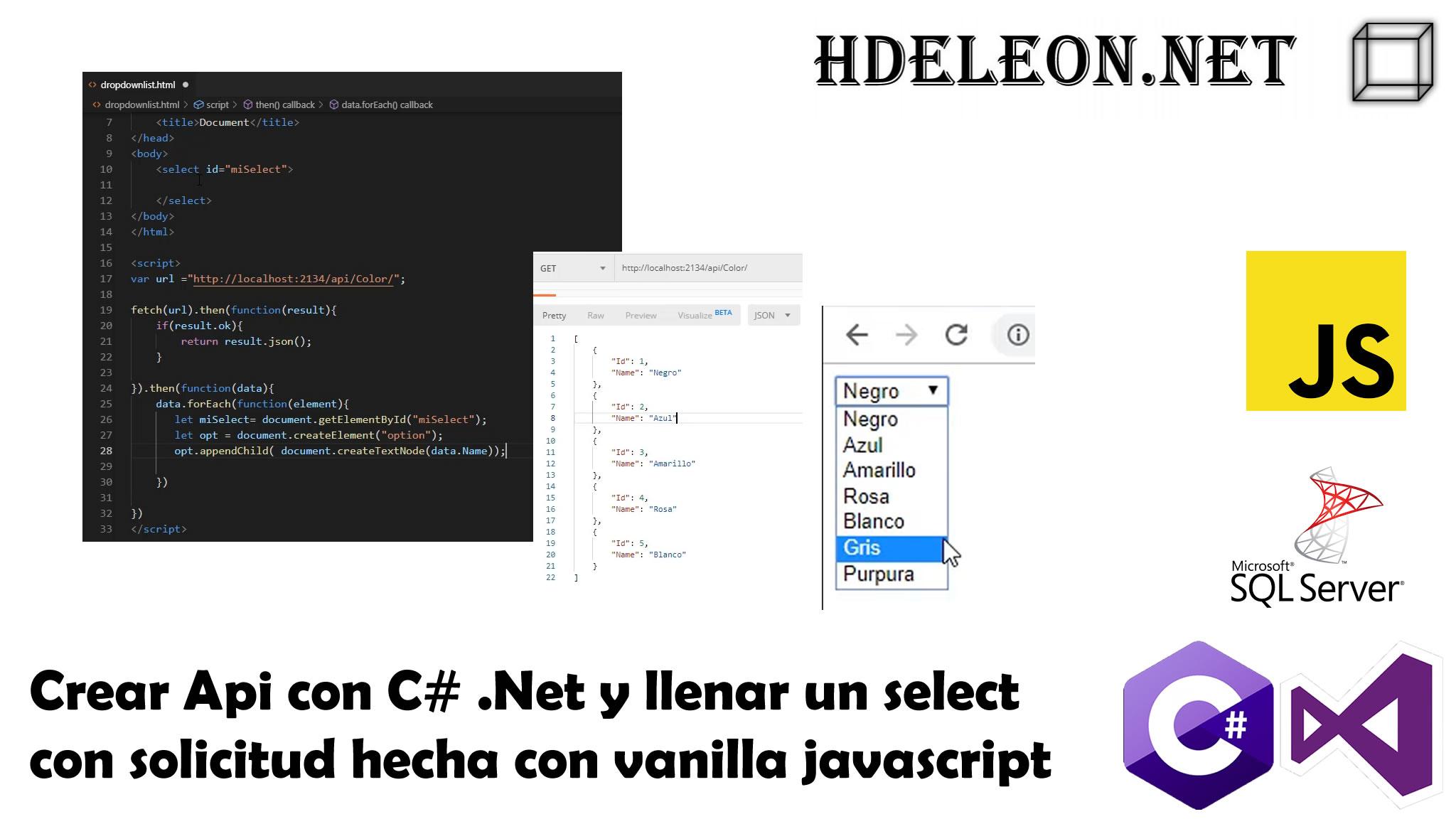 Crear Api con C# .Net y llenar un select con solicitud hecha con vanilla javascript