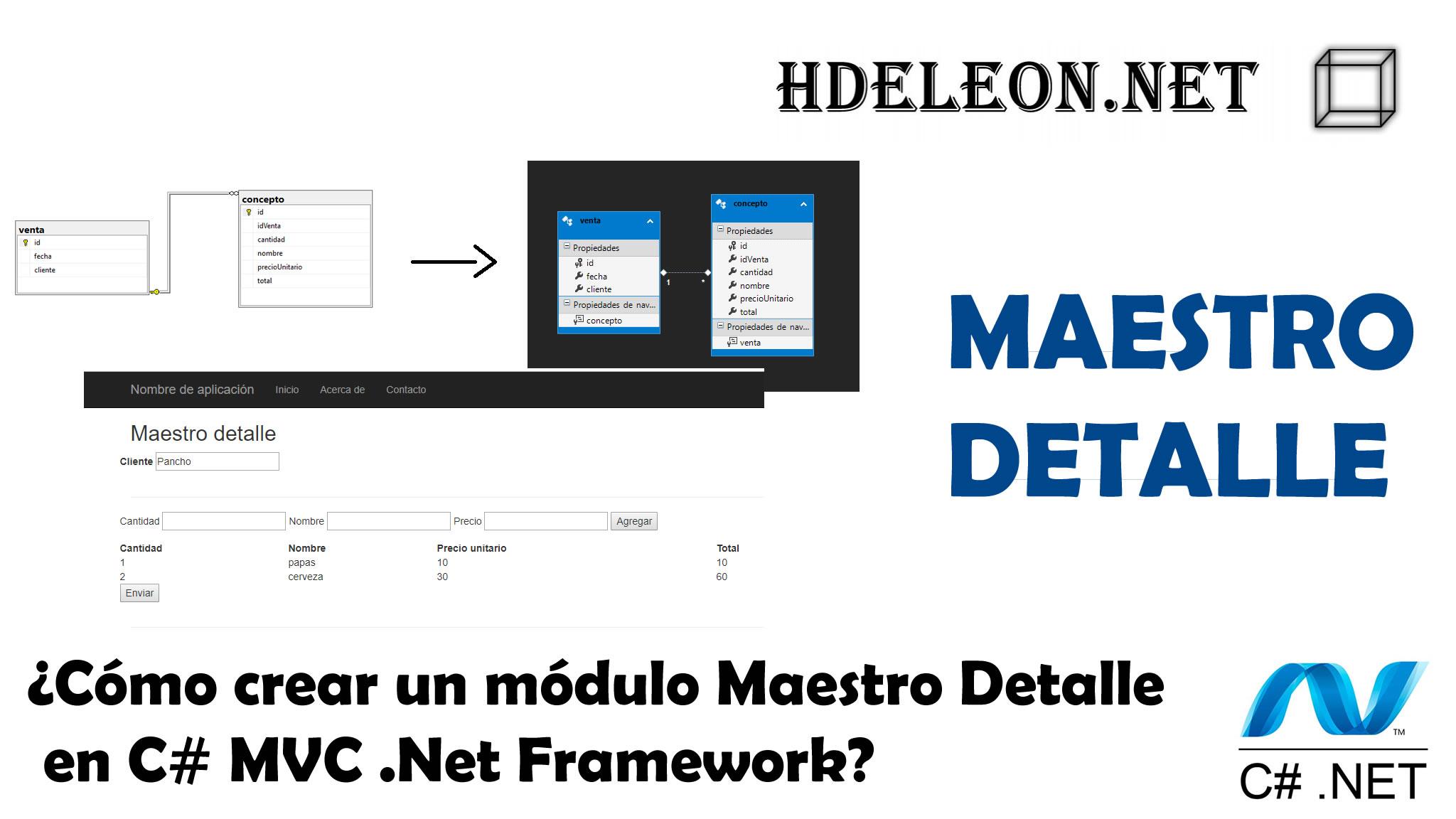 ¿Cómo crear un módulo Maestro Detalle en C# MVC .Net Framework?