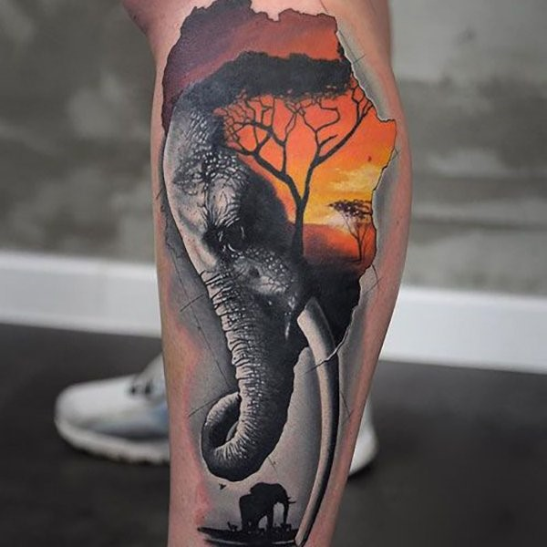 African elephant tattoos for men