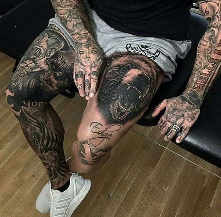bear leg tattoos