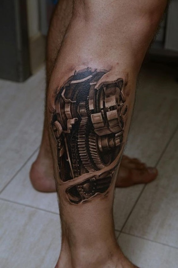 calf leg tattoos for men