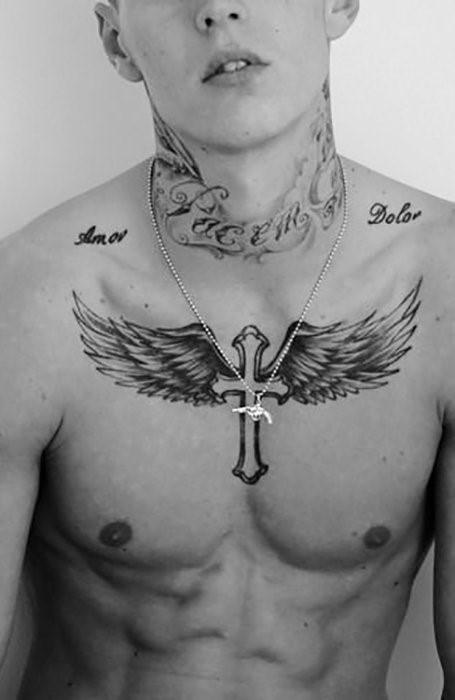 cross wings tattoo