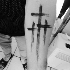 triple cross tattoos for men